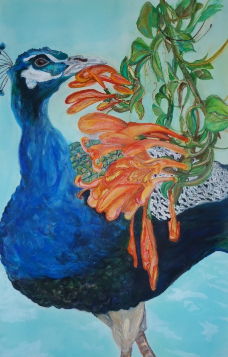 """Nasca Peacock,"" Watercolor and Oil Pastel, 2010"